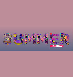 Summer and holiday colorful headline text poster vector