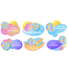 summer liquid gradient banner set colorful fluid vector image