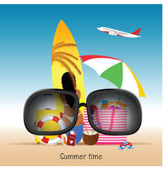 Summer time with items vector