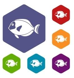 Surgeon fish icons set vector