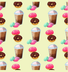sweet delicious macaroons coffee cup morning vector image