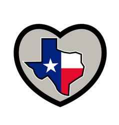 texas flag map inside heart icon vector image