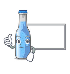 Thumbs up with board soda water and ice cubes vector