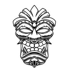tiki tribal wooden mask design element for logo vector image