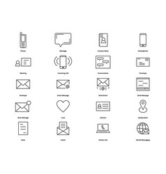 top contact thin line icons for web vector image