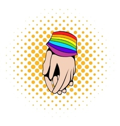 Two hands tied rainbow ribbon icon comics style vector image