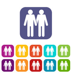 Two men gay icons set vector