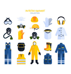 variety protective equipment elements vector image