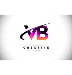 Vb v b grunge letter logo with purple vibrant vector