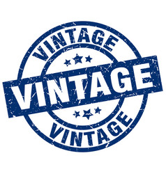 vintage blue round grunge stamp vector image