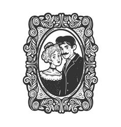 Vintage photo married couple sketch vector
