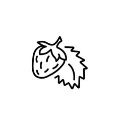 web line icon strawberry black on white vector image