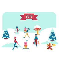 winter banner with people vector image
