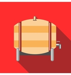 Wooden barrel of beer with a tap icon flat style vector
