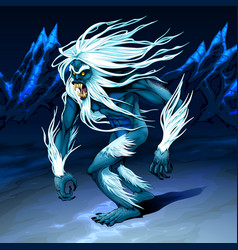 Yeti is walking in night vector
