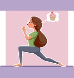 yoga girl thinking of cupcake dessert while exerci vector image