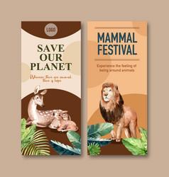 Zoo flyer design with deer lion watercolor vector