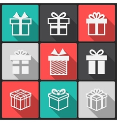 Gift box white icons vector image