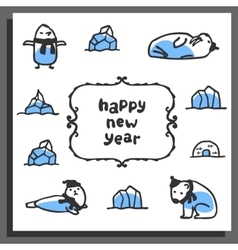 Happy new year greeting card with cute cartoon vector image vector image