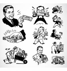 retro money graphics vector image