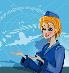 Stewardess in uniform vector image vector image