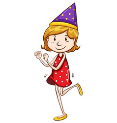 A simple drawing of a girl celebrating vector image vector image
