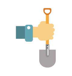 hand with spade isolated on vector image