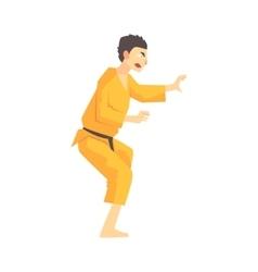 Man In Yellow Kimono Kung Fu Martial Arts Fighter vector image vector image