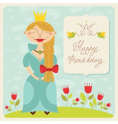birthday princess card vector image vector image