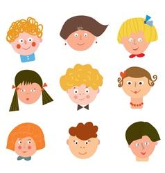 Children funny faces set vector image
