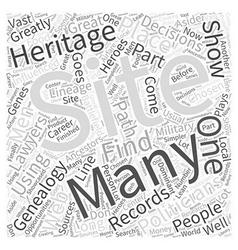 genealogy web site Word Cloud Concept vector image vector image