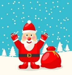 Jolly Christmas Santa Holding Up A Stack Of vector image