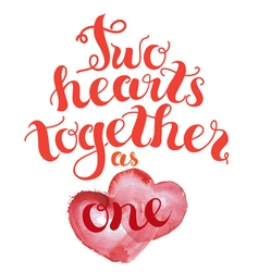 2 hearts together vector image vector image
