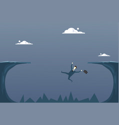 business man falling in cliff gap businessman fail vector image vector image