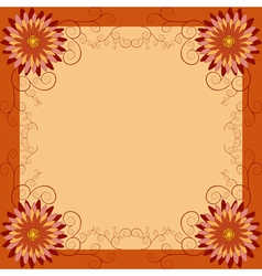 Floral vintage background with flowers and swirls vector image vector image