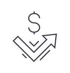 growth up money line icon sign vector image