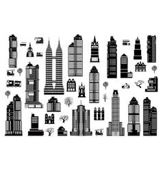 set of urban buildings vector image