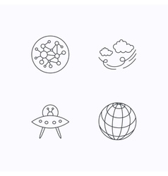Ufo planet and global network icons vector image vector image