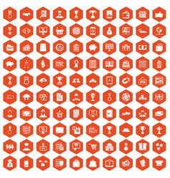 100 business icons hexagon orange vector