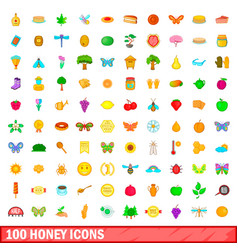 100 honey icons set cartoon style vector