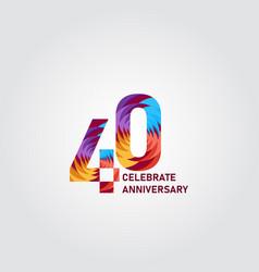 40 year anniversary elegant rainbow template vector