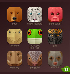 Animal faces for app icons-set 13 vector