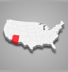 Arizona state location within united states 3d map vector