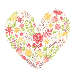 Beautiful flower heart postcard vector