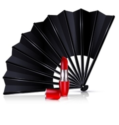 black fan and red lipstick vector image