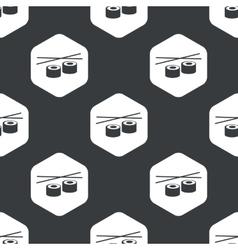 Black hexagon sushi pattern vector