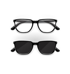 black office and sun glasses with shiny frame vector image