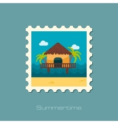 Bungalow with palm trees stamp Summer Vacation vector