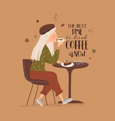 Cartoon beautiful girl drinking coffee at cafe vector