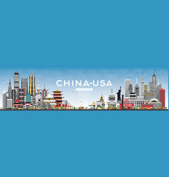 China and usa skyline with gray buildings and vector